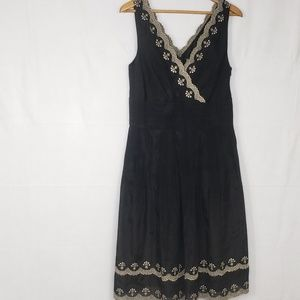 Ann Taylor Black  Dress With Gold Embroidery Sz 14